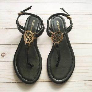 BCBGeneration Black Thong Logo Sandals